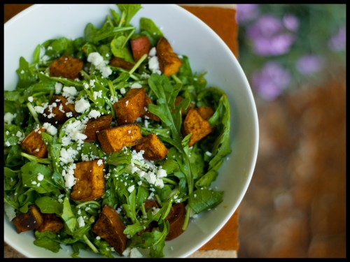 Arugula Salad with Roasted Sweet Potatoes